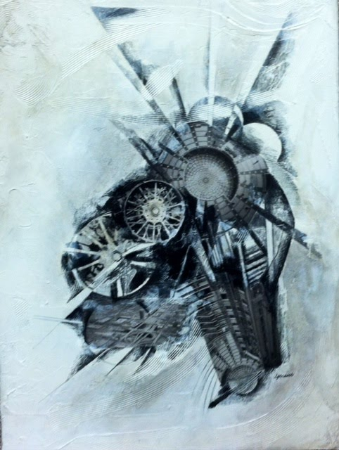 """Chicago"" 18"" x 24' Drawing: charcoal, graphite,assemblage"